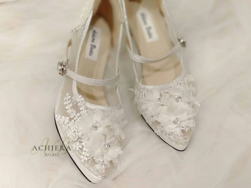 White Customweddingshoes With Flower Accents Are The