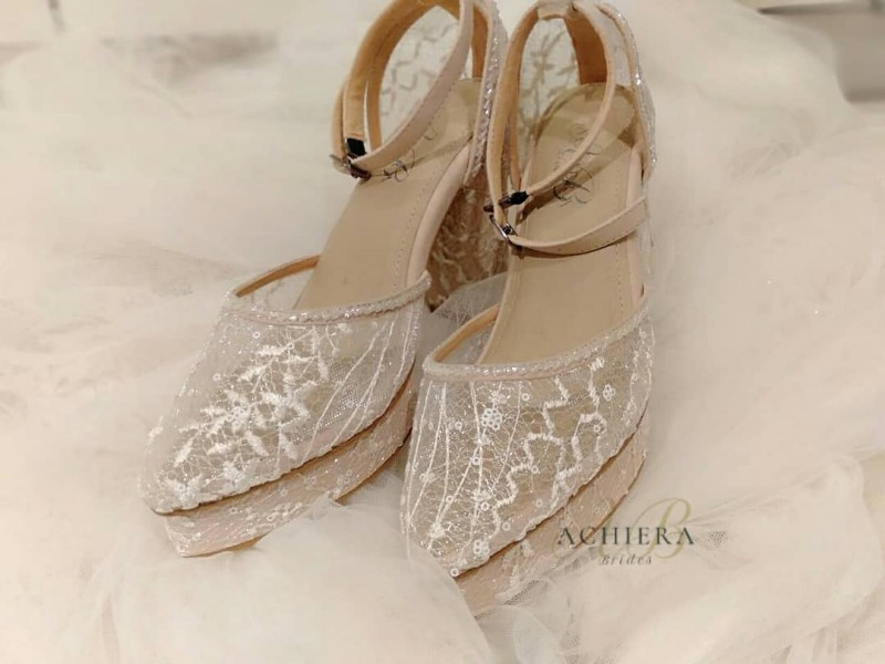 Simple White Lace Wedding Shoes More Info